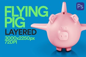 3D Illustration Flying Pig