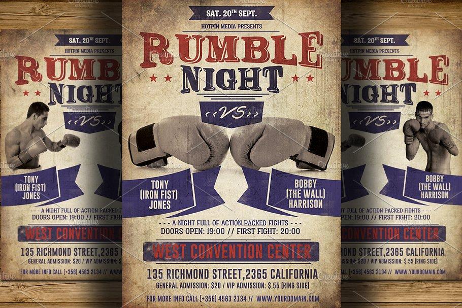 Vintage Boxing Flyer Poster Template Flyer Templates Creative Market