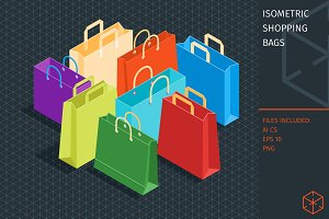 Isometric shopping bags