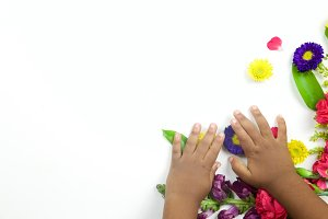 Flowers with toddler hands