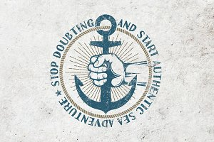 Anchor in hand retro logo