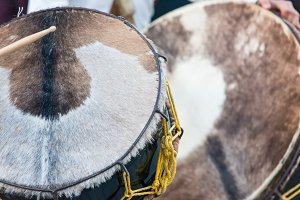 Cow leather drum