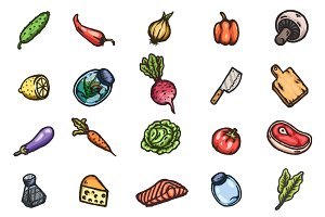 Set of cartoon food icons +patterns