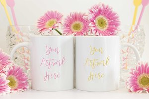 Pink and Yellow Double Mug Mockup