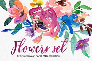 Bright watercolor flowers BIG set