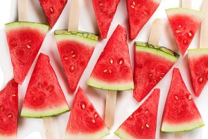 Watermelon popsicles, above view.