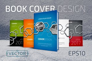 Hexagons Vector Book Cover Templates