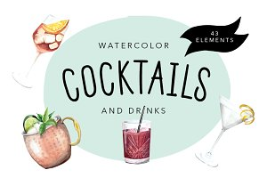 Watercolor Cocktails and Drinks Set