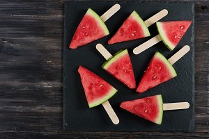 Watermelon slices flat lay, top view
