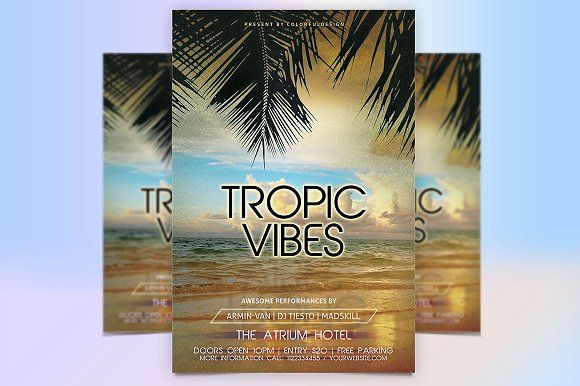 tropical vibes flyer template flyer templates creative market
