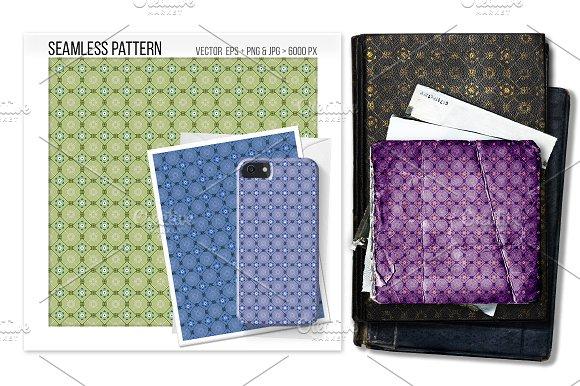 Seamless Asian Floral Net Pattern