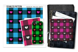 Seamless buffalo plaid heart pattern