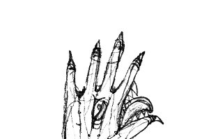 Isolated Pencil Drawing Fantasty Monster Hand