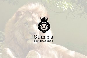 Simba : Negative Space Lion Logo