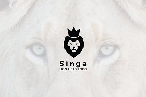 Singa : Negative Space Lion Logo
