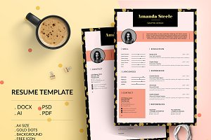 Gold Dot CV Resume Template / N