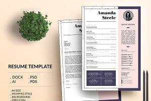 Memphis CV / Resume Template / N