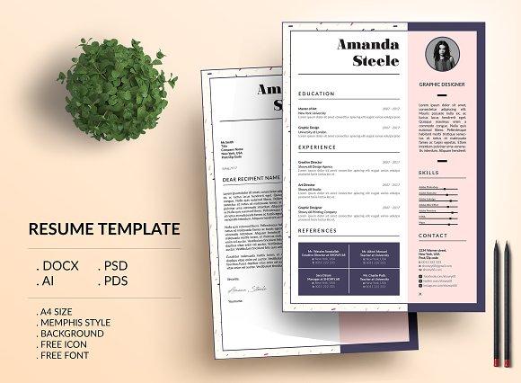 Memphis CV Resume Template N