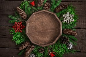 Cozy christmas background With natural decoration. Top view with copy space