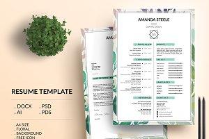 Floral CV / Resume tamplate / N