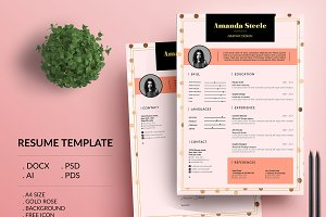 Gold rose CV / Resume template / N