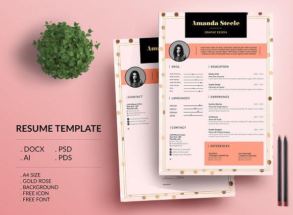 Gold Rose CV Resume Template N
