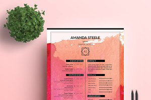 Water color CV / Resume Template / N