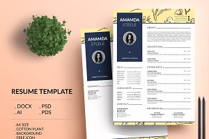Cotton plant CV Resume Template / N