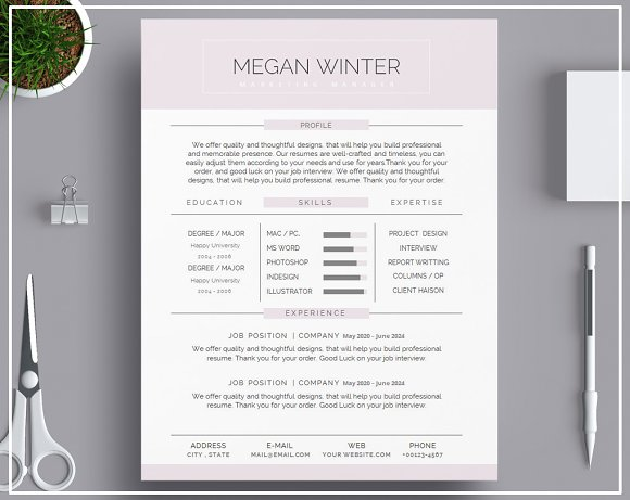 Resume Template Cover Letter Purple