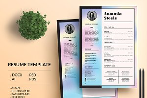 Holographic CV Resume Template / N