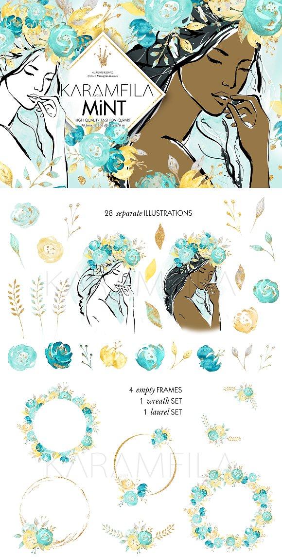 Mint Gold Wedding Flowers Clipart