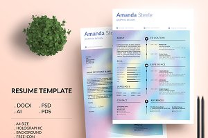 Holographic CV / Resume Template / N