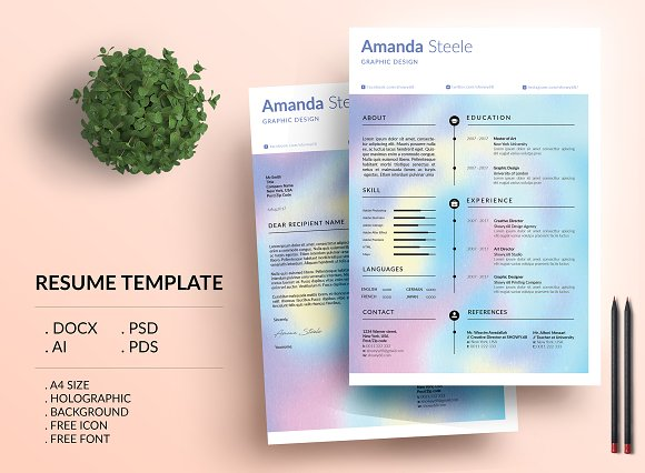 Holographic CV Resume Template N
