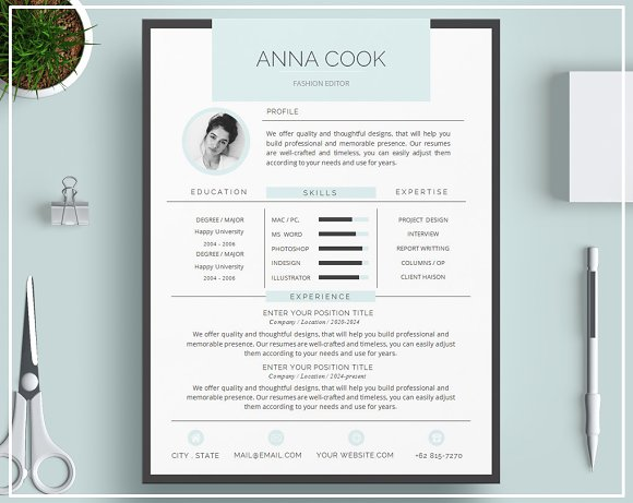 Resume Template CV Template- Blue