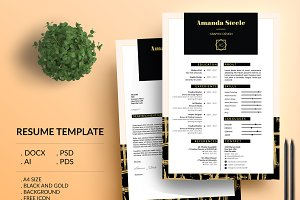 Black n gold CV Resume Template / N