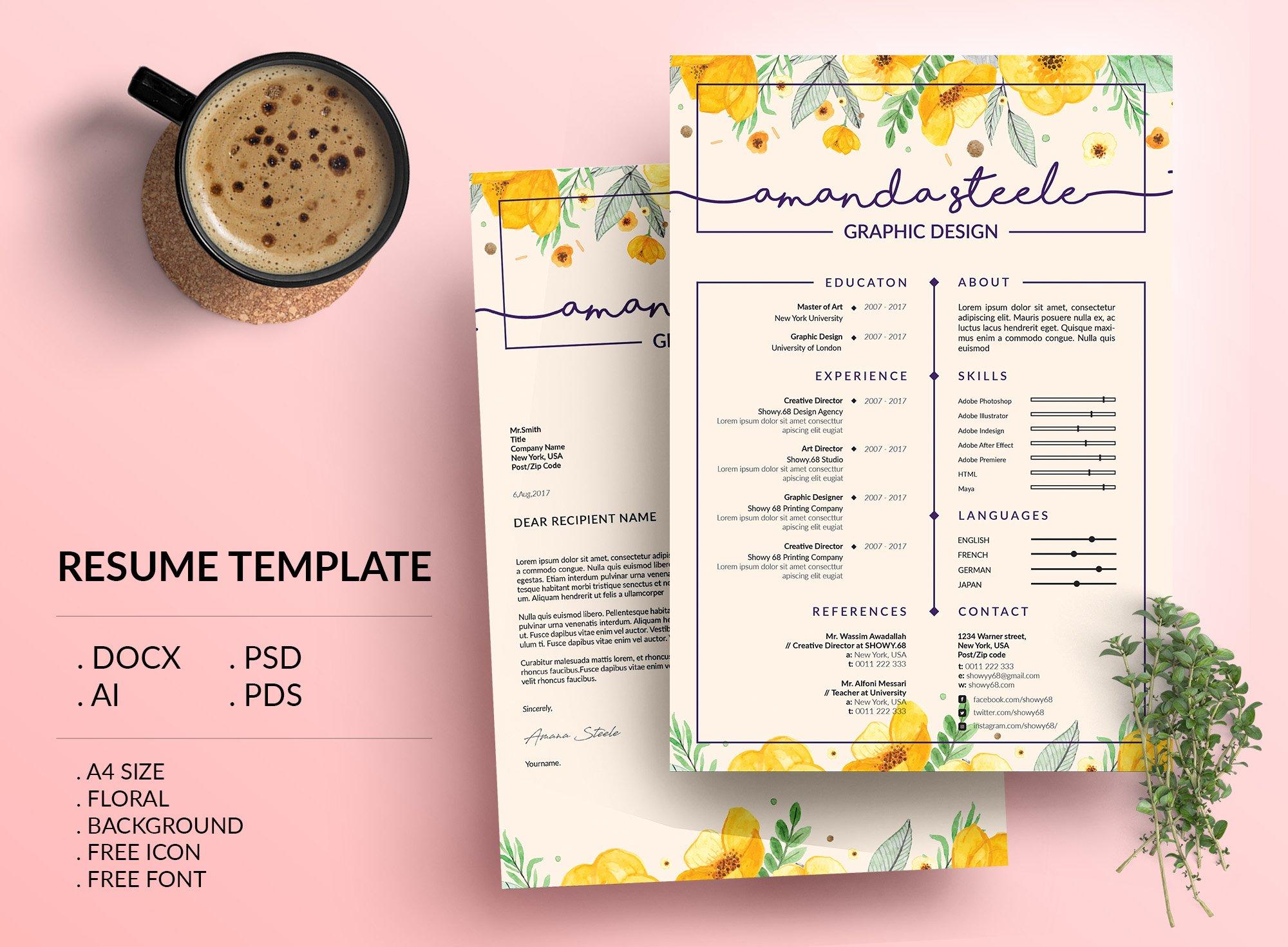 Floral CV / Resume Template /N ~ Resume Templates ~ Creative