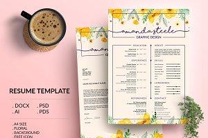 Floral CV / Resume Template /N