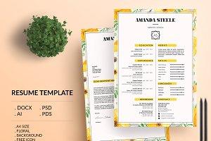 Floral CV / Resume Template / N