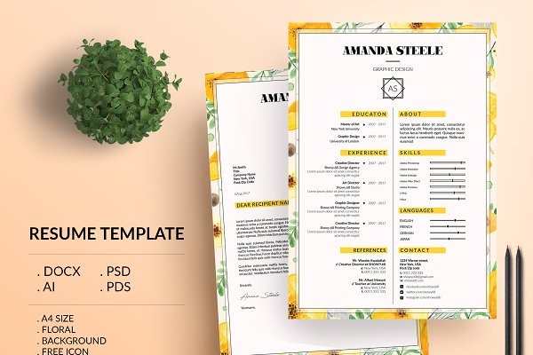 resume templates showy68 template floral - Resume With Photo Template