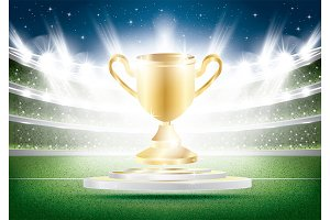 Golden Winner Cup with Spotlights