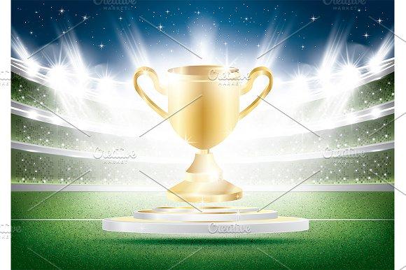 Golden Winner Cup With Spotlights
