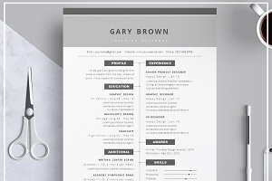 Resume Template/ Cover Letter/ Grey