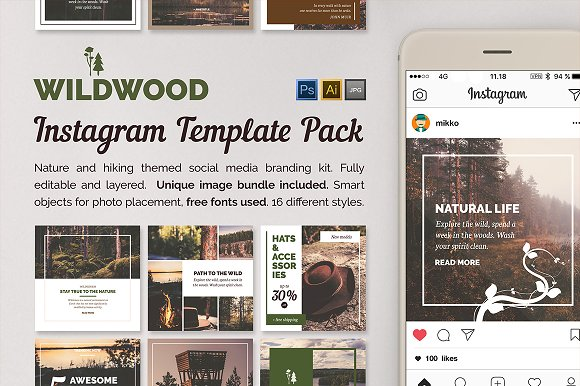 WILDWOOD Instagram Templates Pack