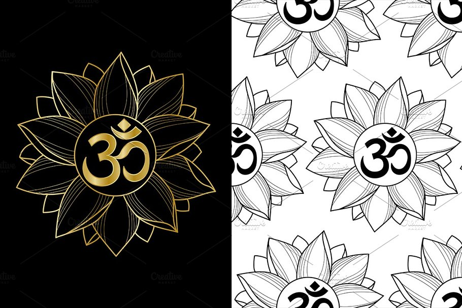 27100ed5e Mantra Om in Lotus Tattoo ~ Graphic Objects ~ Creative Market