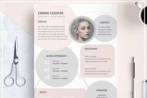Resume Template/ Cover Letter/ Pink