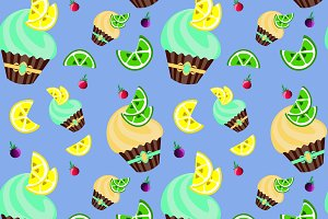 Fruit cupcakes pattern