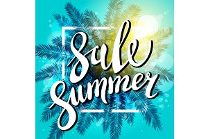 summer sale sun palm background