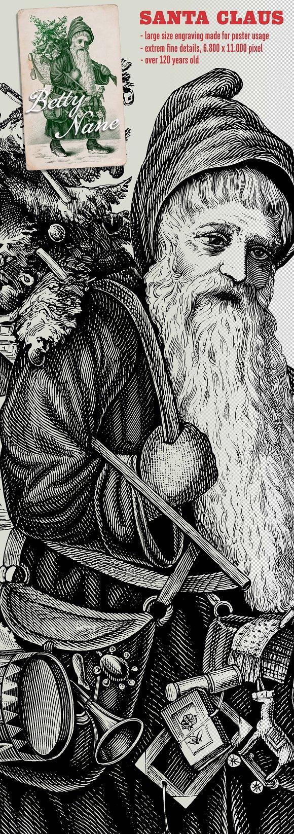 Antique Santa Claus Poster Engraving