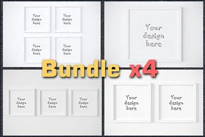 BUNDLEx4 square white frame mockup