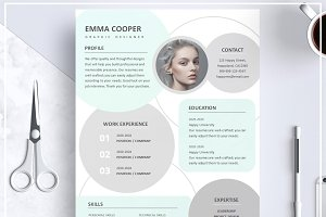 Resume/ CV Template- Mint Green